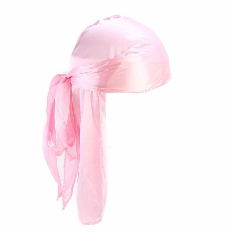 Fashion Unisex Men and Women Headscarf Headdress Bandana Durag Headwear Faux Soft Silk Pirate Cap Wrap - Pink