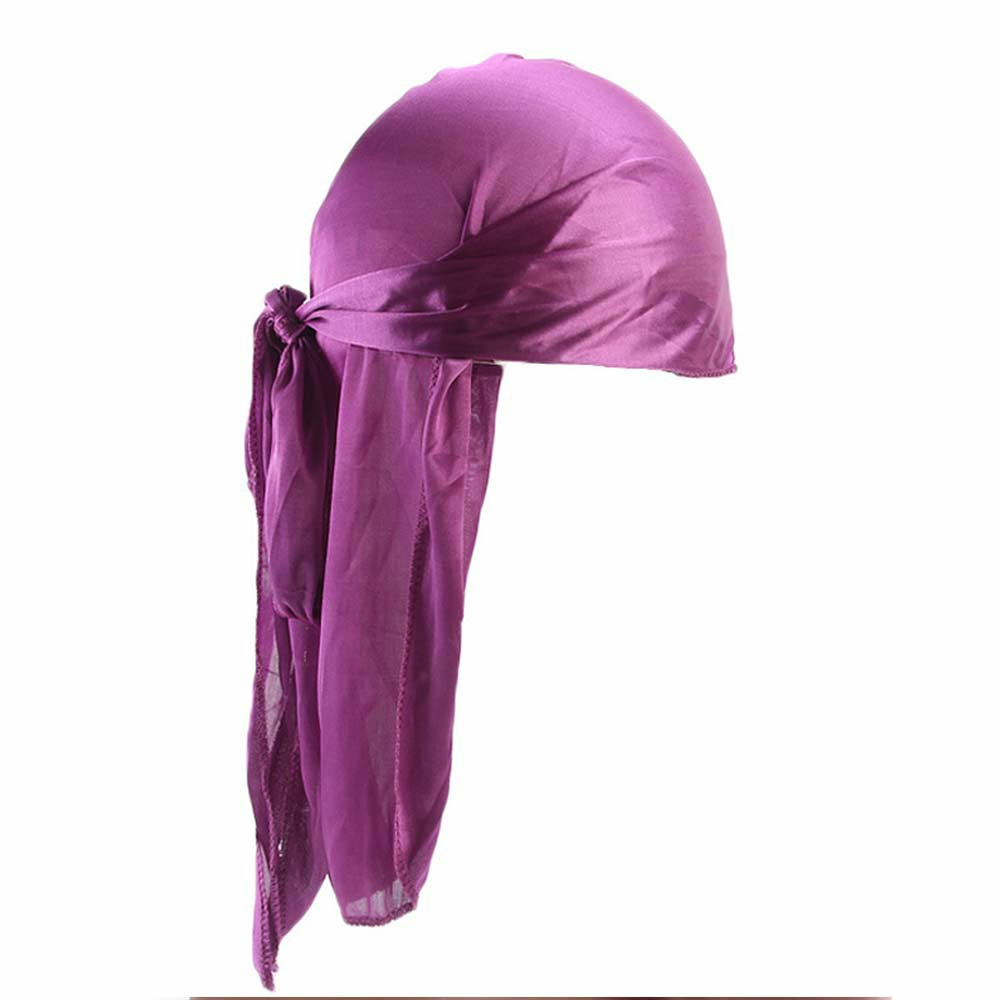 Fashion Unisex Men and Women Headscarf Headdress Bandana Durag Headwear Faux Soft Silk Pirate Cap Wrap - Purple