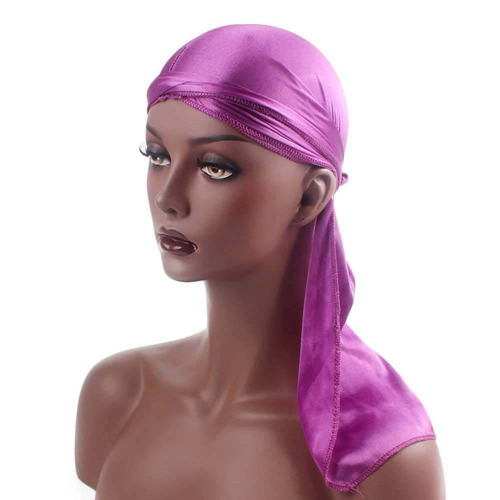 Fashion Unisex Men and Women Headscarf Headdress Bandana Durag Headwear Faux Soft Silk Pirate Cap Wrap - Purple