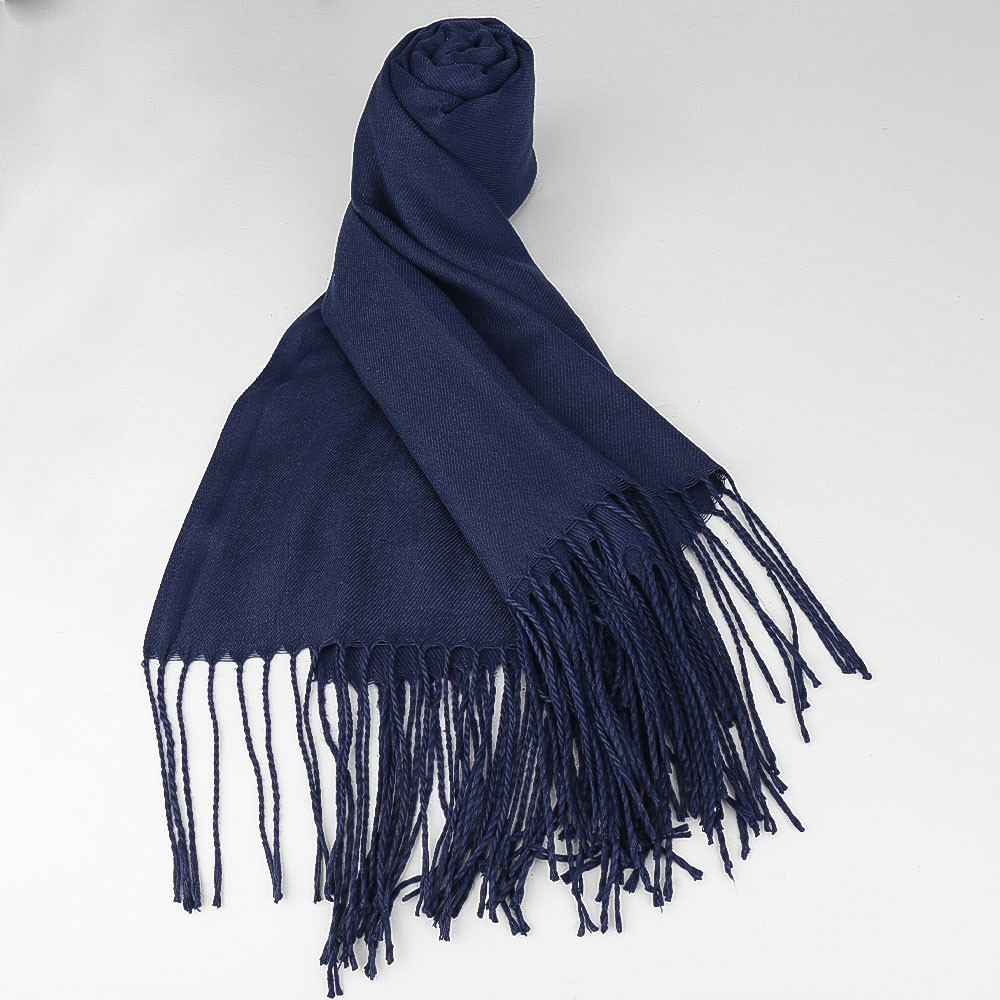 Women Winter Warm Scarf Cashmere Imitation Blend Long Wrap Shawl Pure Knitted Scarf Pashmina for Lady - Navy