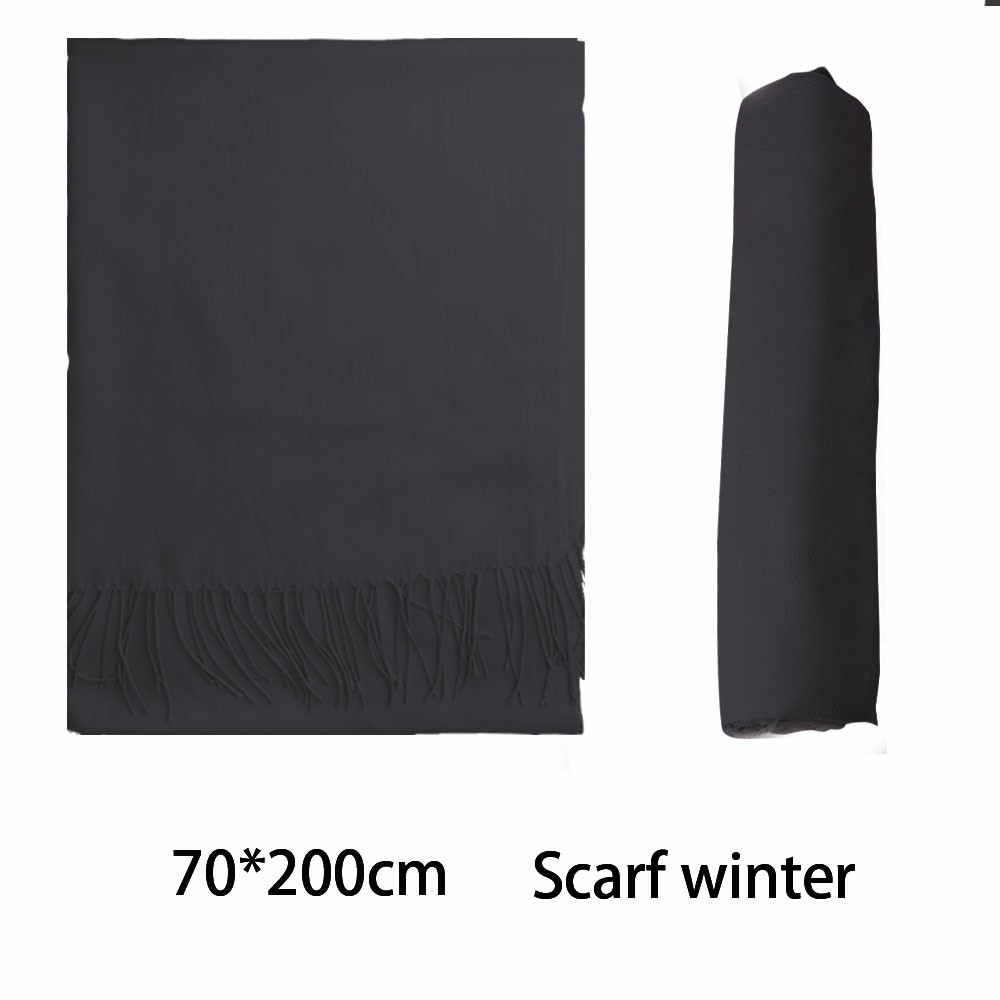 Women Winter Warm Scarf Cashmere Imitation Blend Long Wrap Shawl Pure Knitted Scarf Pashmina for Lady - Dark Grey