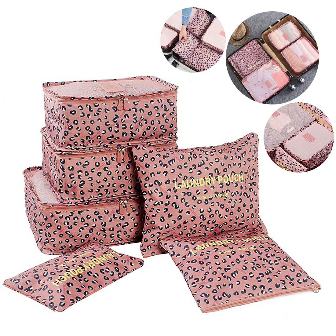 6Pcs Clothes Storage Bags Set Cube Leopard Printed Travel Home Luggage Organizer Pouch - Pink
