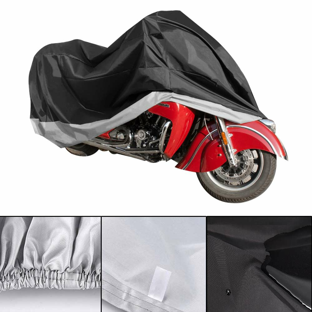 210D Oxford Cloth Motorcycle Waterproof Cover Outdoor Vented Motor Bike Scooter Dust Rain Cover - Silver + Black