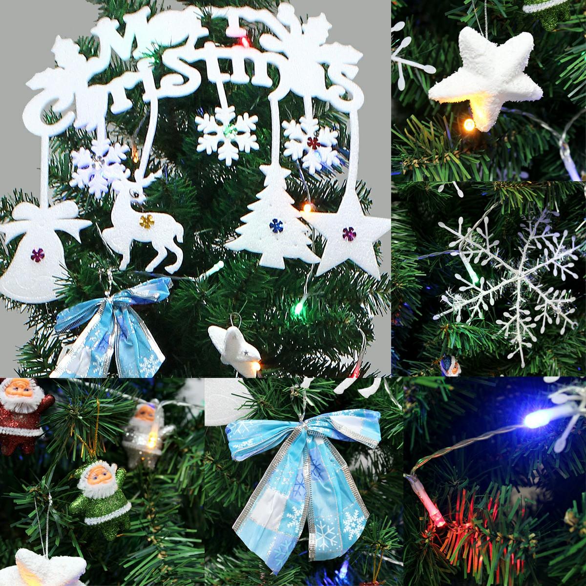 1 Set Christmas Xmas Word Plate Bowknot LED Light Snowflake Star Santa Decor Kit - Combination 2