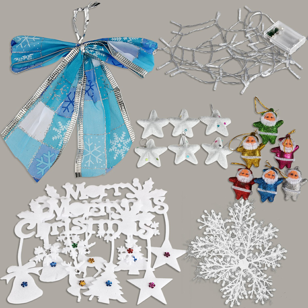 1 Set Christmas Xmas Word Plate Bowknot LED Light Snowflake Star Santa Decor Kit