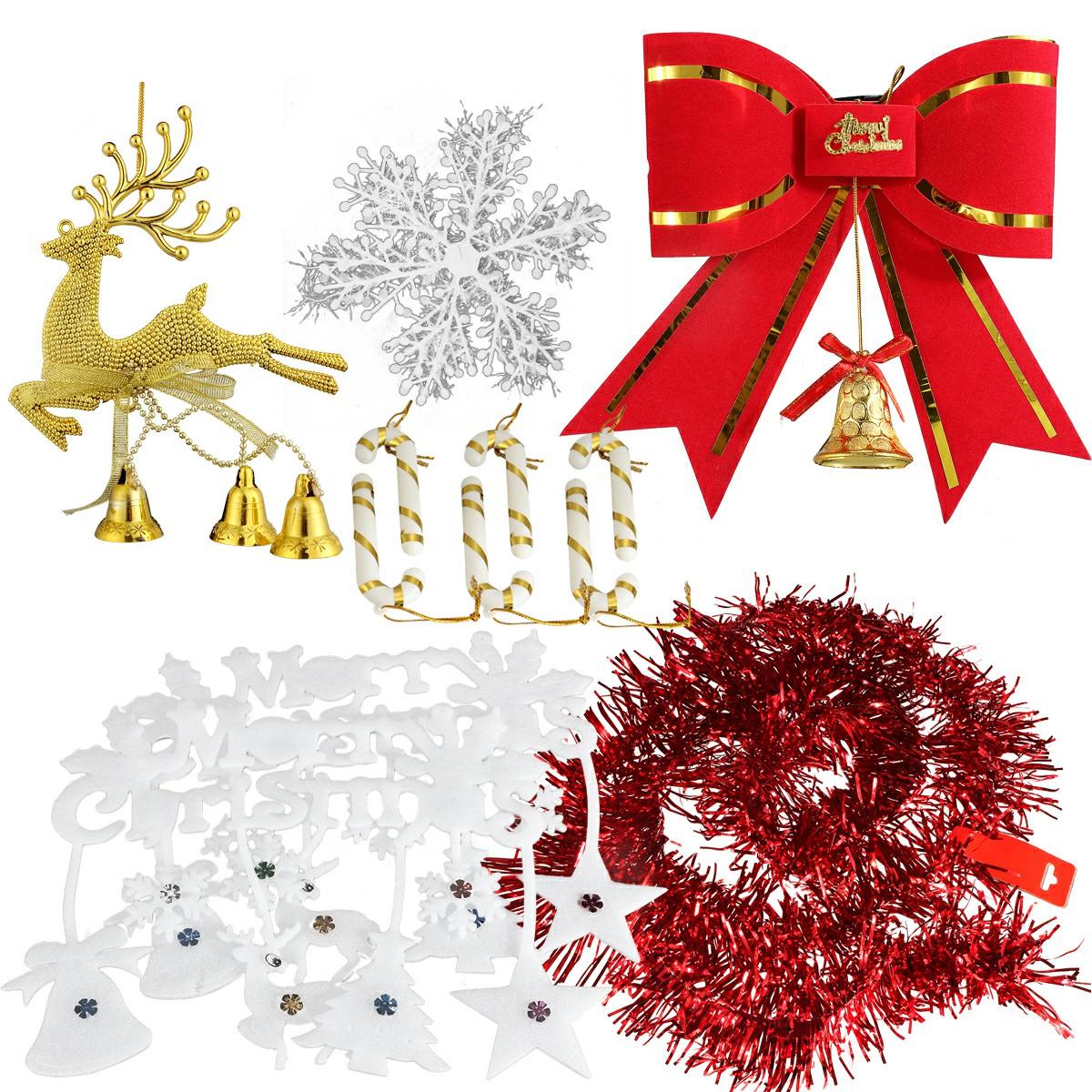 1 Set Christmas Xmas Bowknot Ribbon Snowflake Walking Stick Deer Jingle Hanging Decor Kit - Combination 1