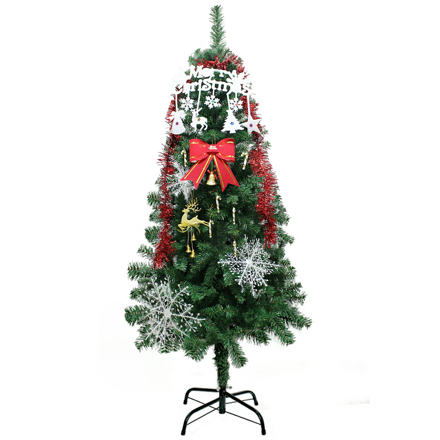 1 Set Christmas Xmas Bowknot Ribbon Snowflake Walking Stick Deer Jingle Hanging Decor Kit