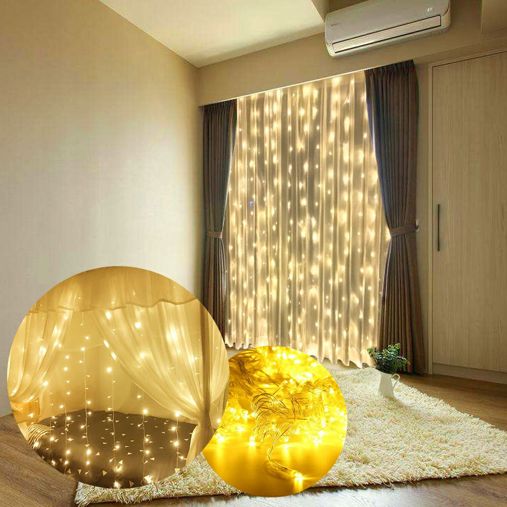 6x3m LED Curtain String Light Fairy Lights Xmas Wedding Lights Party Patio Window Decor UK - Warm Light