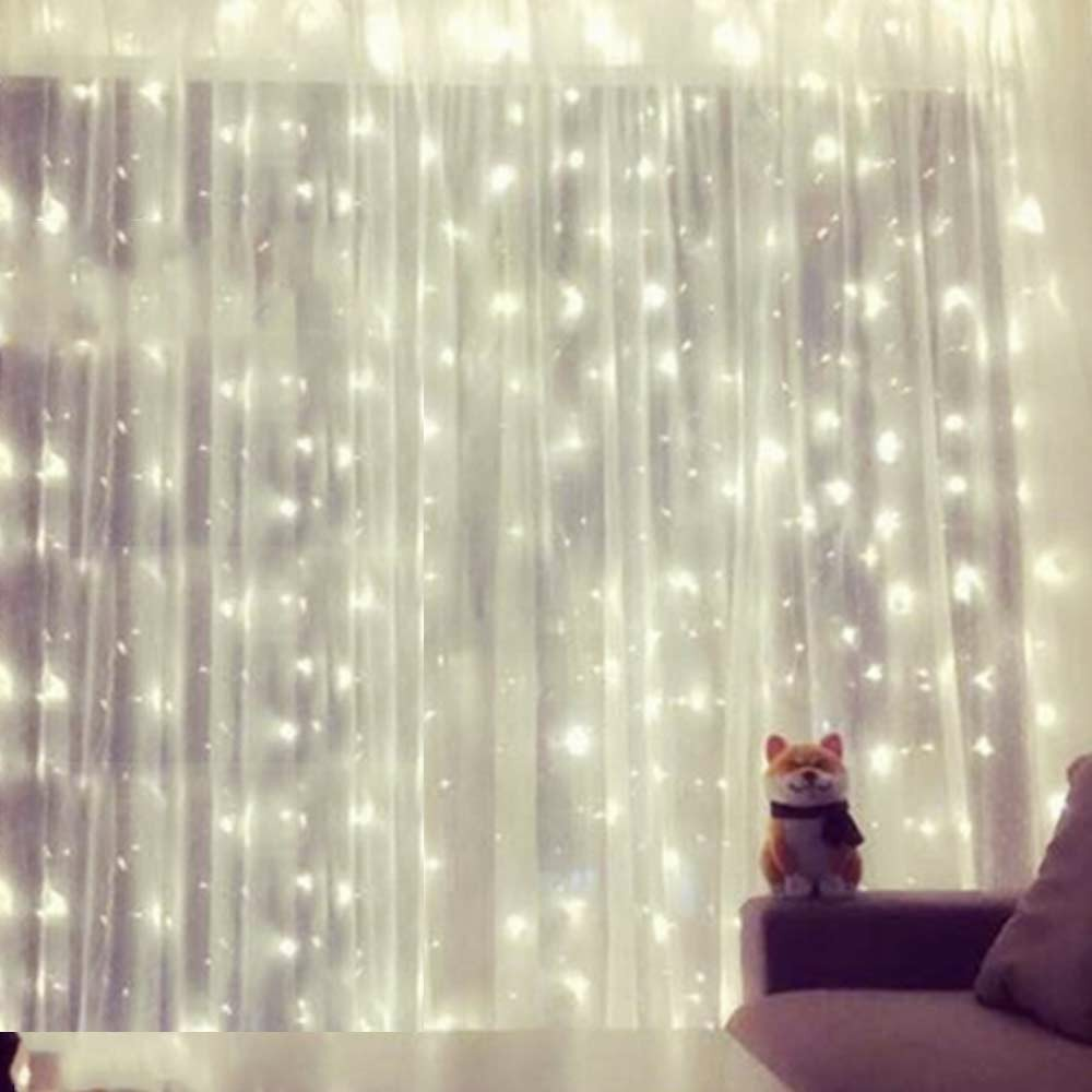 LED Curtain Fairy Lights String Indoor Outdoor Backdrop Wedding Christmas Party Decor - Cold Light