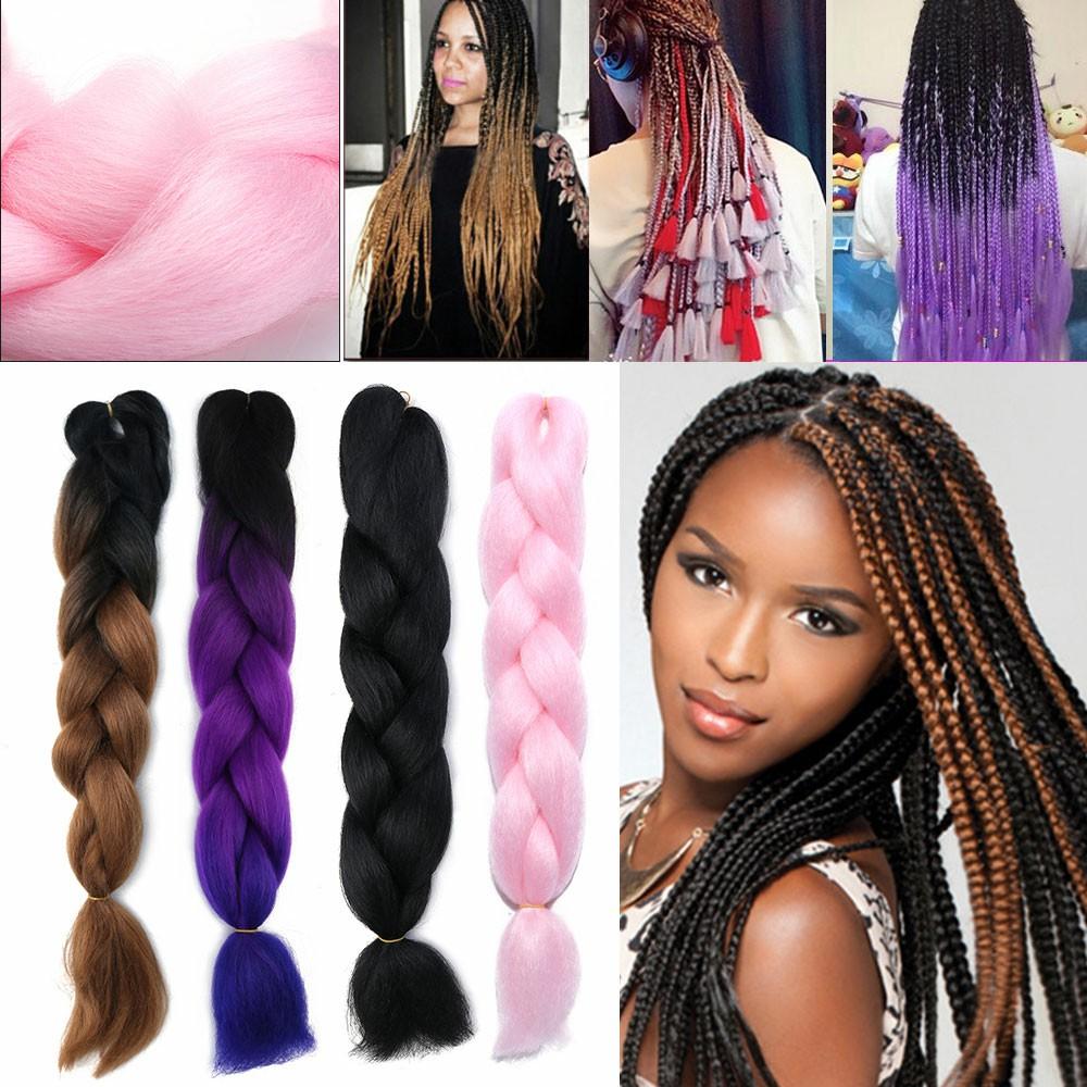 3-5Bundles 24inch Ombre EXpression Jumbo Crochet Braiding Braid Hair Extensions K23 - Black+Purple+Blue