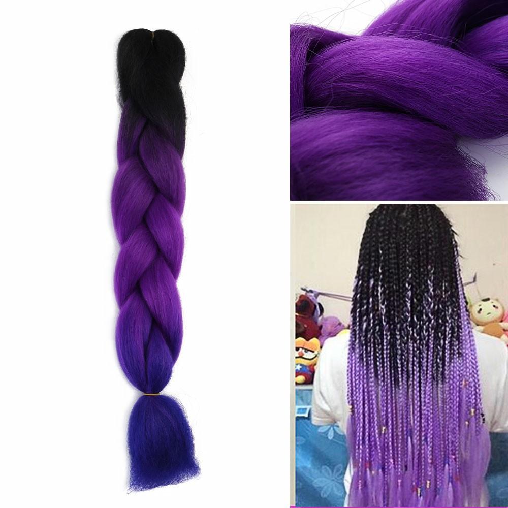 1 pcs 24 inch Ombre Braid Hair Extensions - Black+Purple+Blue