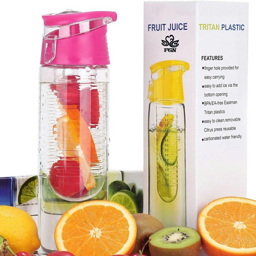 800ML Fruit Cup Infusing Infuser Water Sport Health Portable Lemon Flip Lid Plastic Bottle - Pink