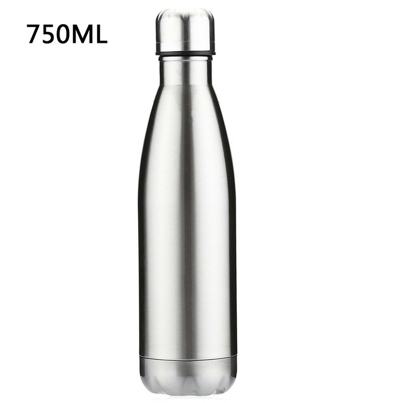 750ML Stainless Steel Vacuum Insulated Water Bottle Leak-proof Double Walled Drinks Bottle Glossy - Silver