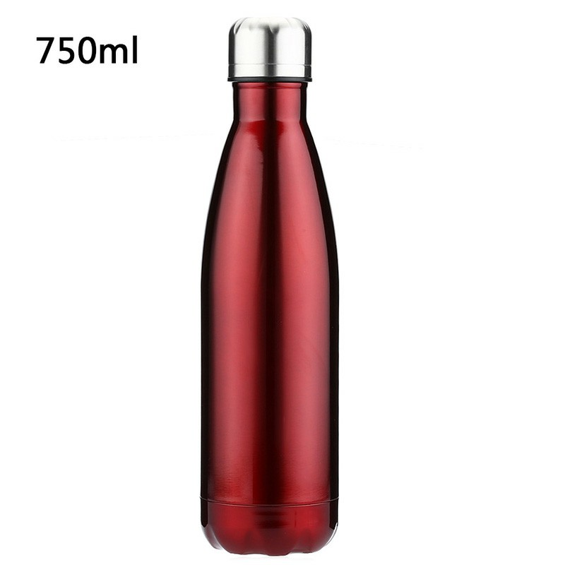750ML Stainless Steel Vacuum Insulated Water Bottle Leak-proof Double Walled Drinks Bottle Glossy - Red
