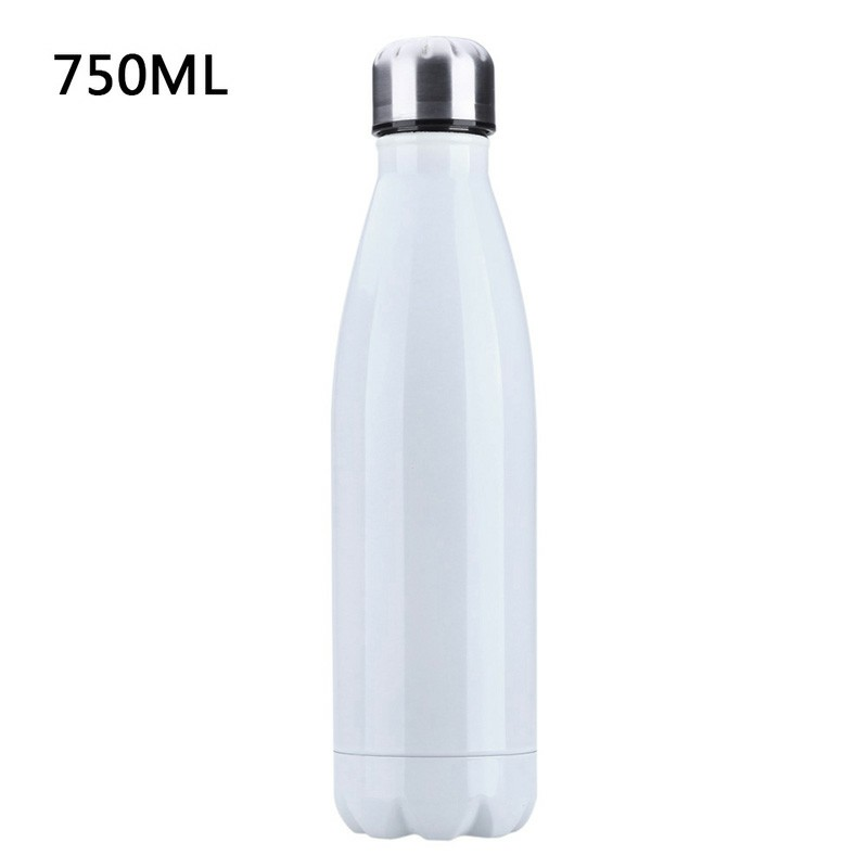 750ML Stainless Steel Vacuum Insulated Water Bottle Leak-proof Double Walled Drinks Bottle Glossy - White