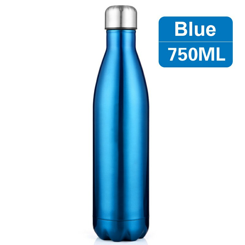 750ML Stainless Steel Vacuum Insulated Water Bottle Leak-proof Double Walled Drinks Bottle Glossy - Blue