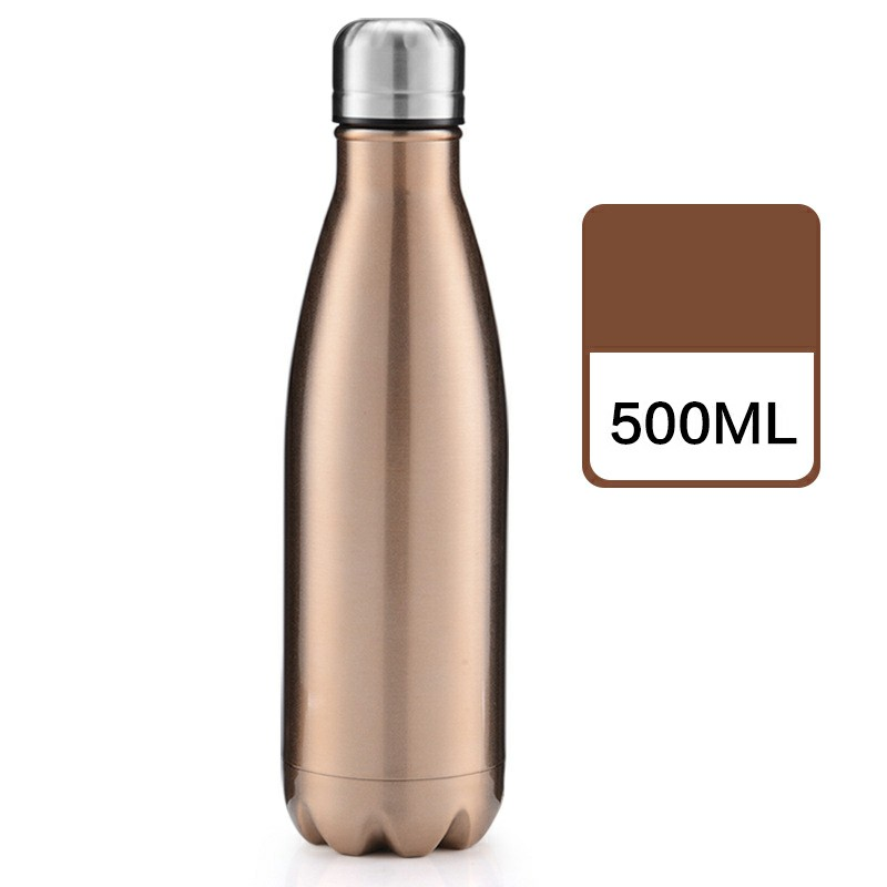 500ML Stainless Thermos Cola Shaped Double Wall Vacuum Water Bottle Flask - Glossy Coffee