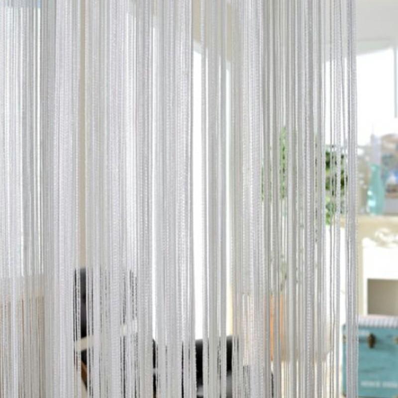 String Curtains Net Fringe Blind Panel Door Tassel Fly Screen Windows Divider 100x200cm - Gray