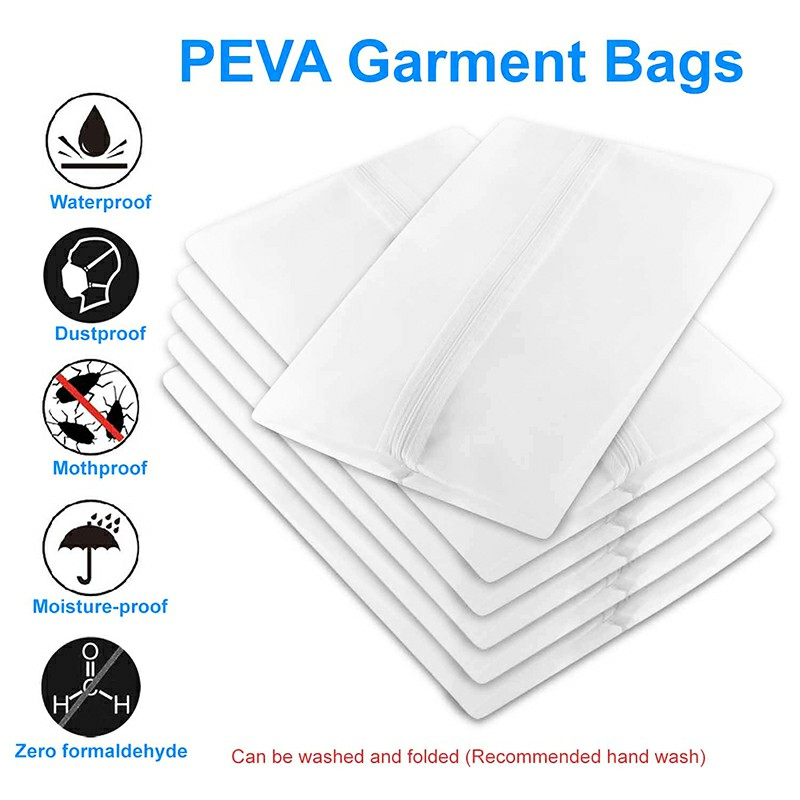 5 pcs Washable Clear Lightweight Zipper Garment Dustproof Nonwoven Bags for Travel Home Use(60x140) - XXL