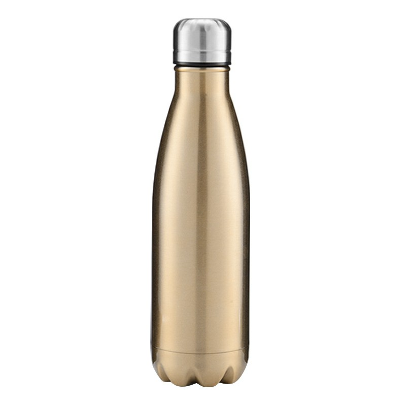 750ML Stainless Steel Vacuum Insulated Water Bottle Leak-proof Double Walled Drinks Bottle Glossy - Bright Gold