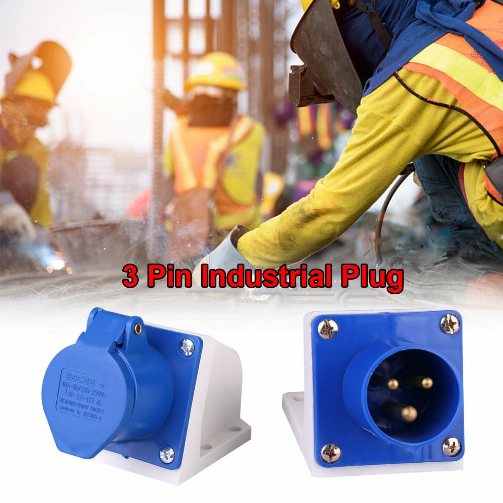 Blue 240V 16 AMP 3 Pin Industrial Site Socket Waterproof IP44 2P Female Socket