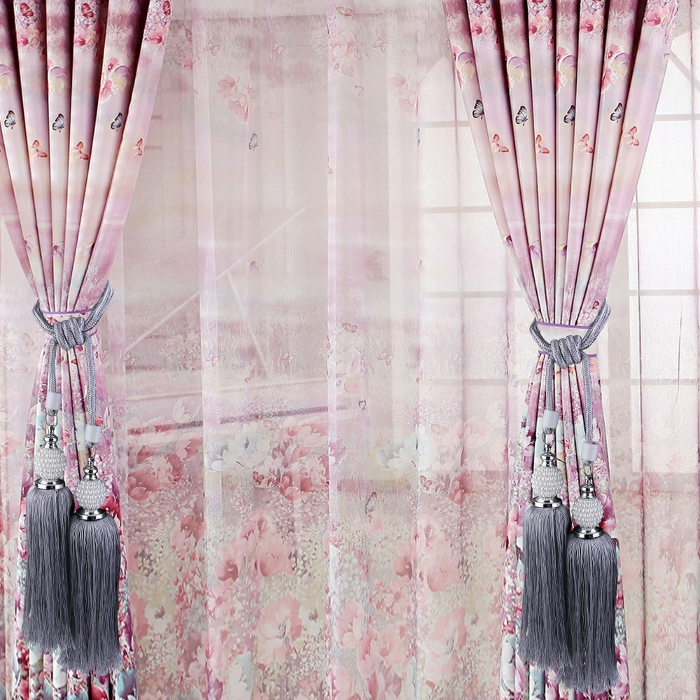 Large Curtain Tie Backs Beaded Ball Tassel Rope Hold backs Home Decor Tiebacks Curtain Tie Buckle Clip Strap - Grey