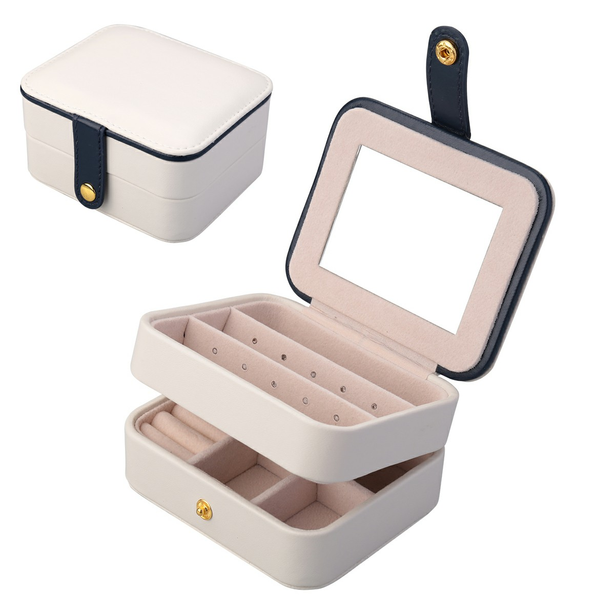 Creative Small Jewelry Box Multilayer Portable Travel Jewelry Box Leather Earrings Storage Box - White
