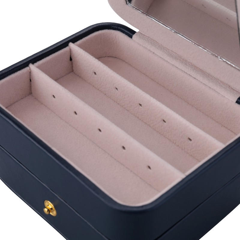 Creative Small Jewelry Box Multilayer Portable Travel Jewelry Box Leather Earrings Storage Box - Dark Blue