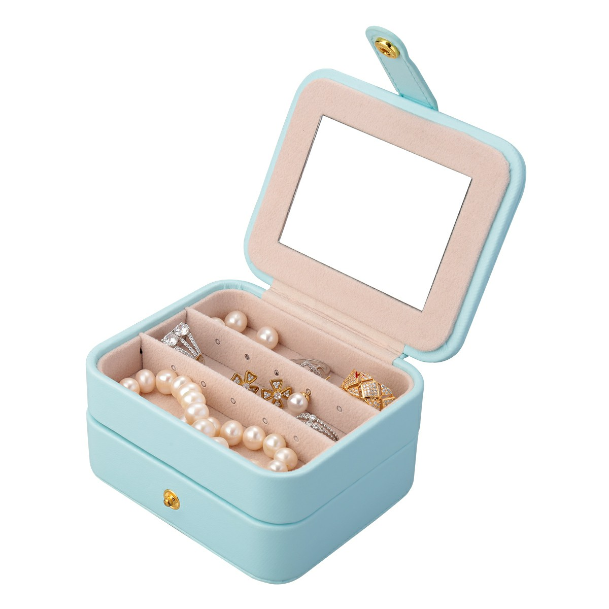 Creative Small Jewelry Box Multilayer Portable Travel Jewelry Box Leather Earrings Storage Box - Light Blue