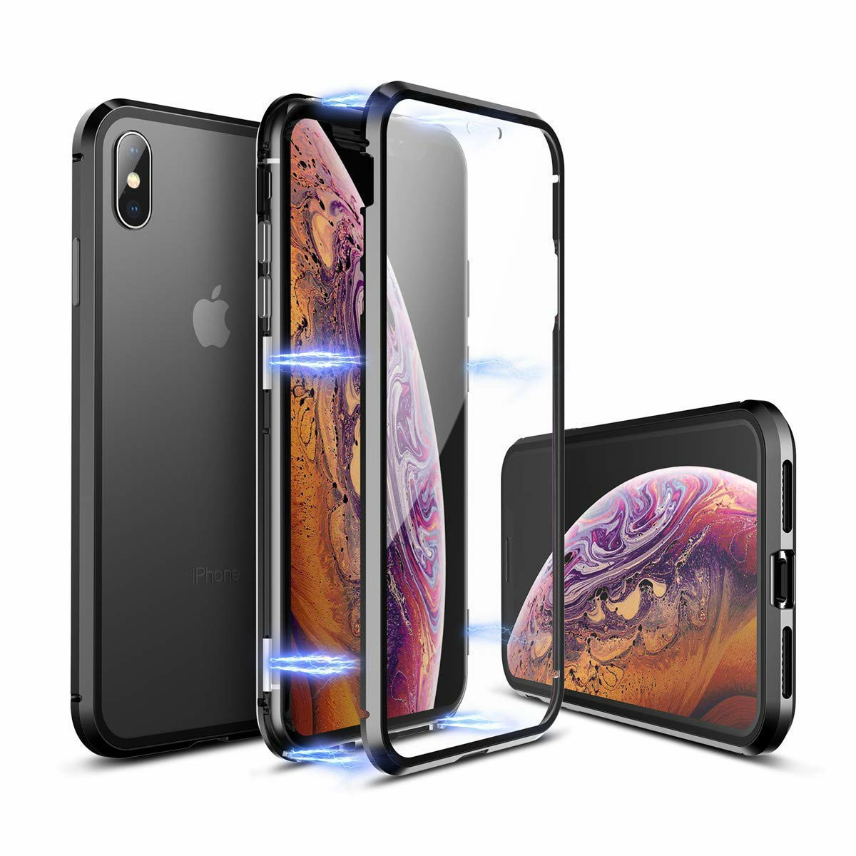 Metal Edge Phone Cover Tempered Glass Back Case and Screen Protector for iPhone XS - Transparent Black
