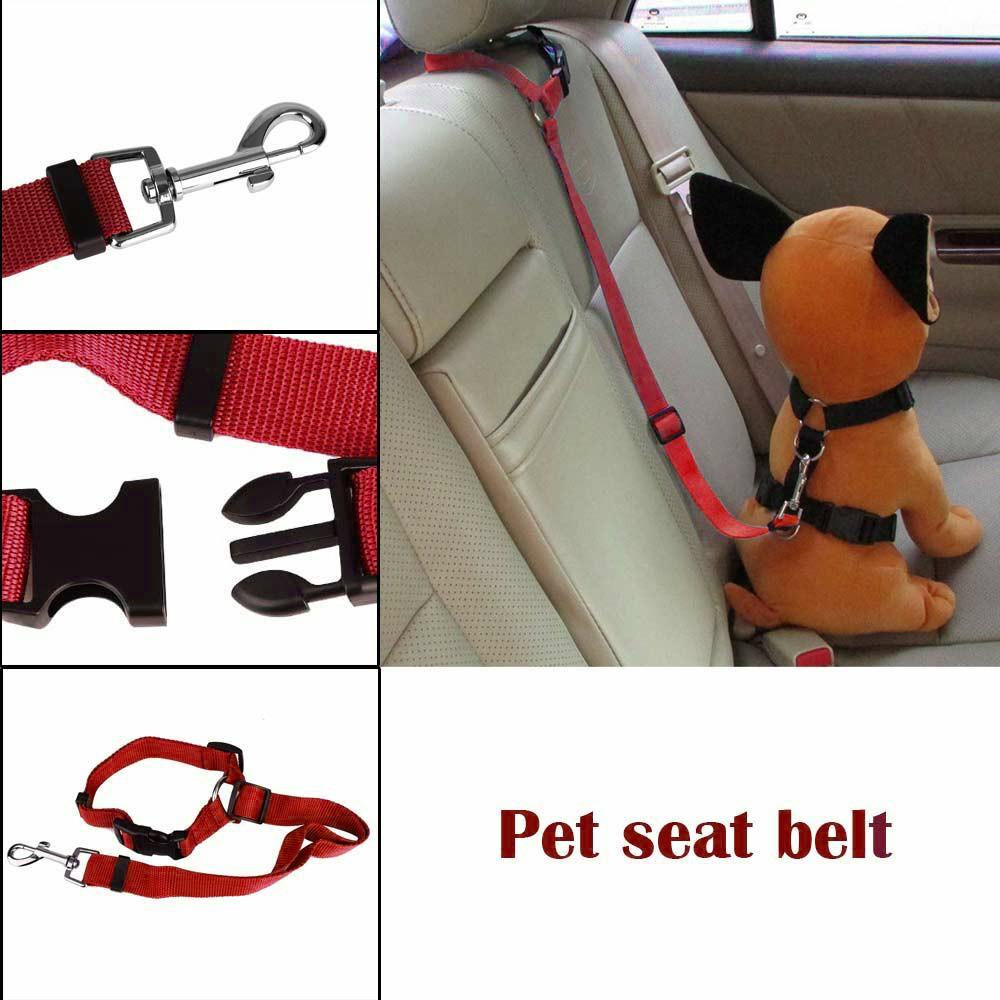 Dog Pet Adjustable Car Safety Seat Belt Harness Travel Lead Restraint Leash Belt Traction Rope - Red