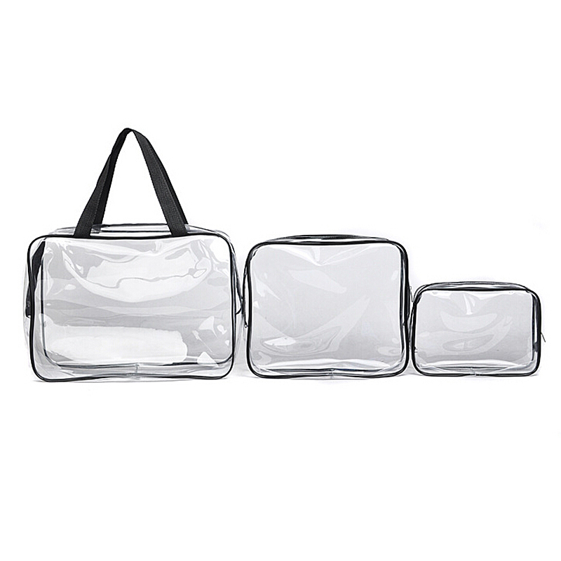 Travel Transparent Cosmetic Bag PVC Zipper Clear Makeup Bags Wash Bag - Black