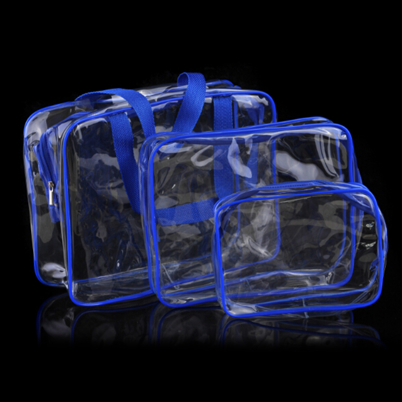 Travel Transparent Cosmetic Bag PVC Zipper Clear Makeup Bags Wash Bag - Blue