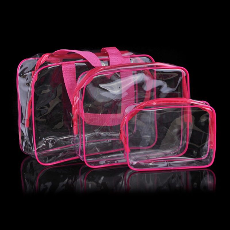Travel Transparent Cosmetic Bag PVC Zipper Clear Makeup Bags Wash Bag - Rose Red