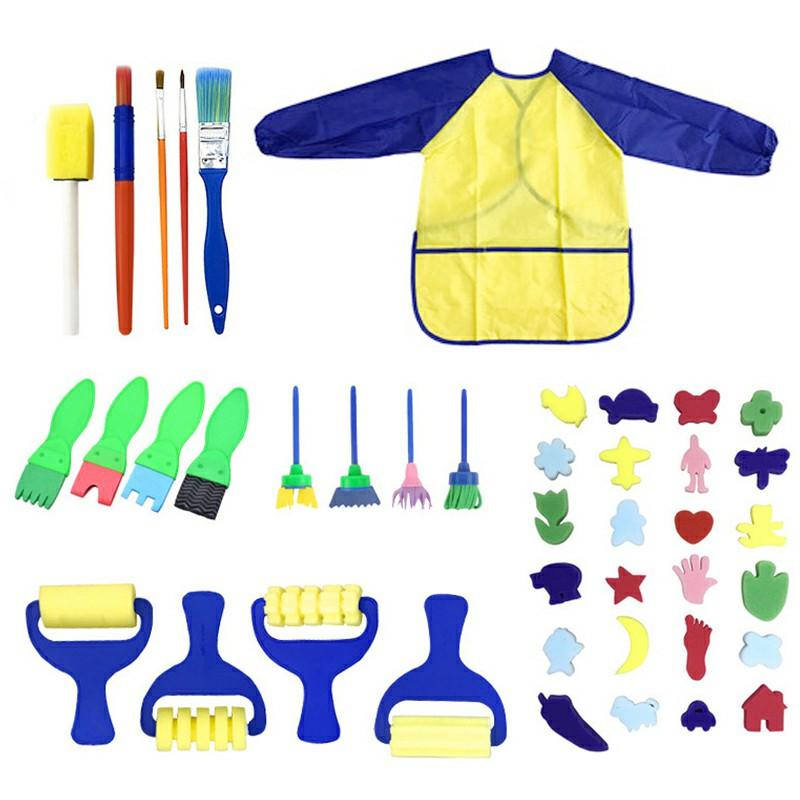 42 pcs Kids Paint Brushes Sponge Painting Brush Tool Set for Children Toddler Toy - Blue