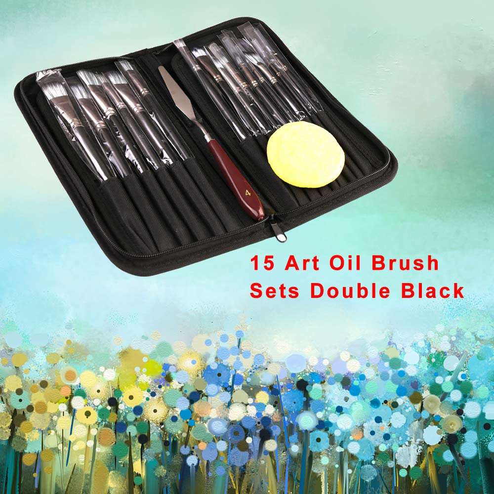 15Pcs Pro Art Painting Brushes Set Acrylic Oil Watercolor Artist Paint Brush - Yellow+Yellow