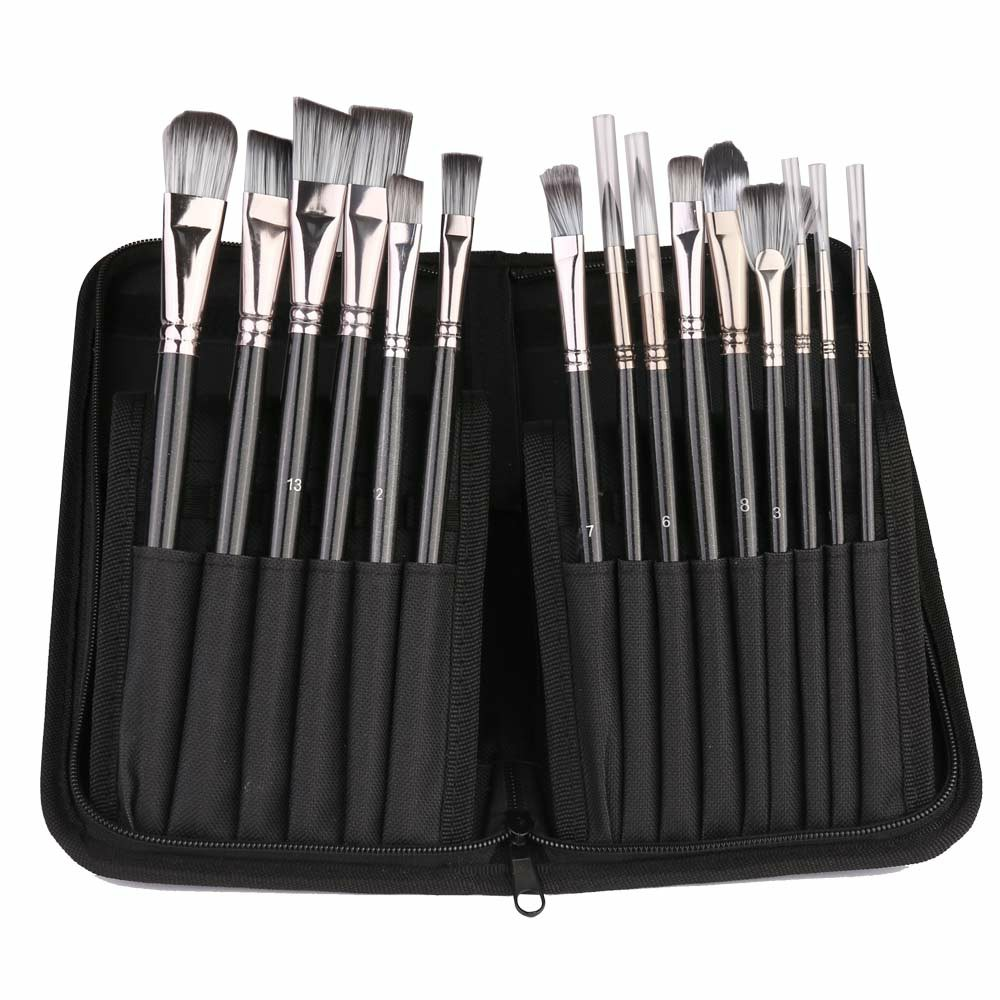 15Pcs Pro Art Painting Brushes Set Acrylic Oil Watercolor Artist Paint Brush - Yellow+Yellow
