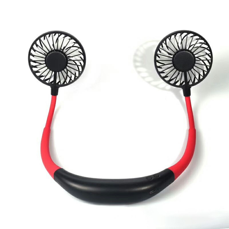 Foldable Mini USB Rechargeable Fan Neckband Lazy Neck Hanging Style Dual Cooler - Black
