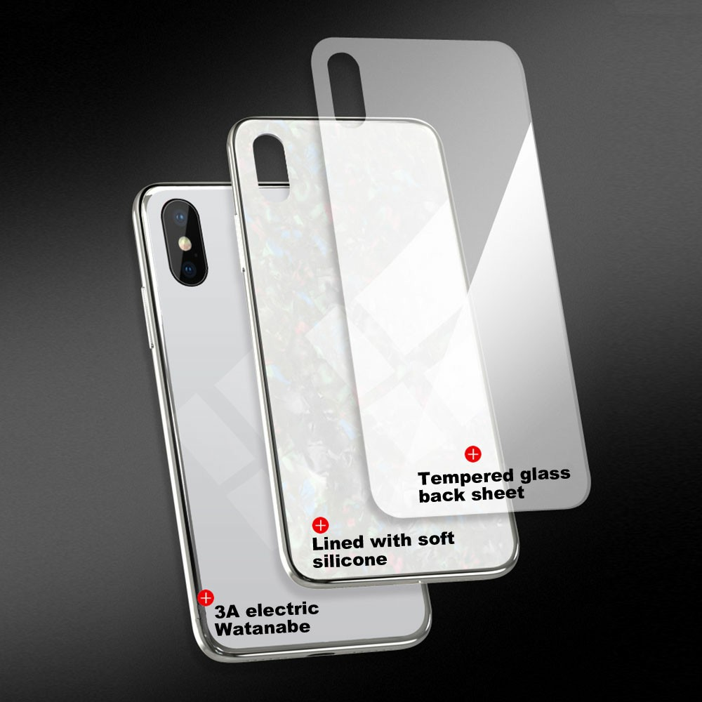 Magnetic Absorption Marble Tempered Glass Case Coverlass Cover Marble iPhone XS Max - White
