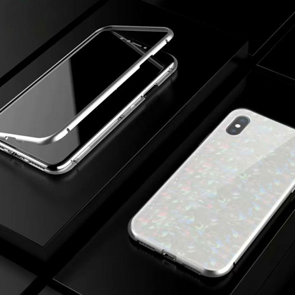 Magnetic Absorption Marble Tempered Glass Case Coverlass Cover Marble iPhone XS Max