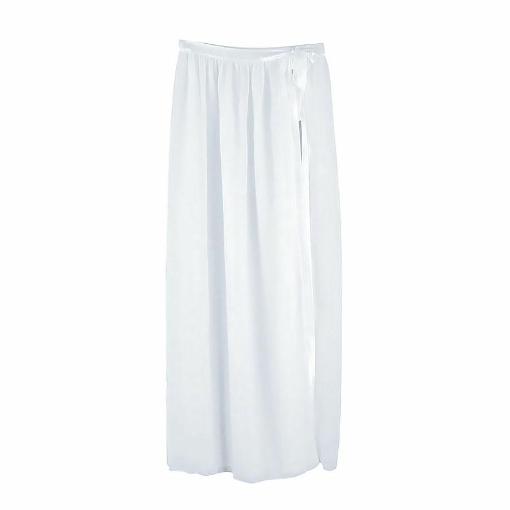 Bikini Cover Up Wrap Women Swimwear Sheer Beach Maxi Wrap Skirt Sarong - White