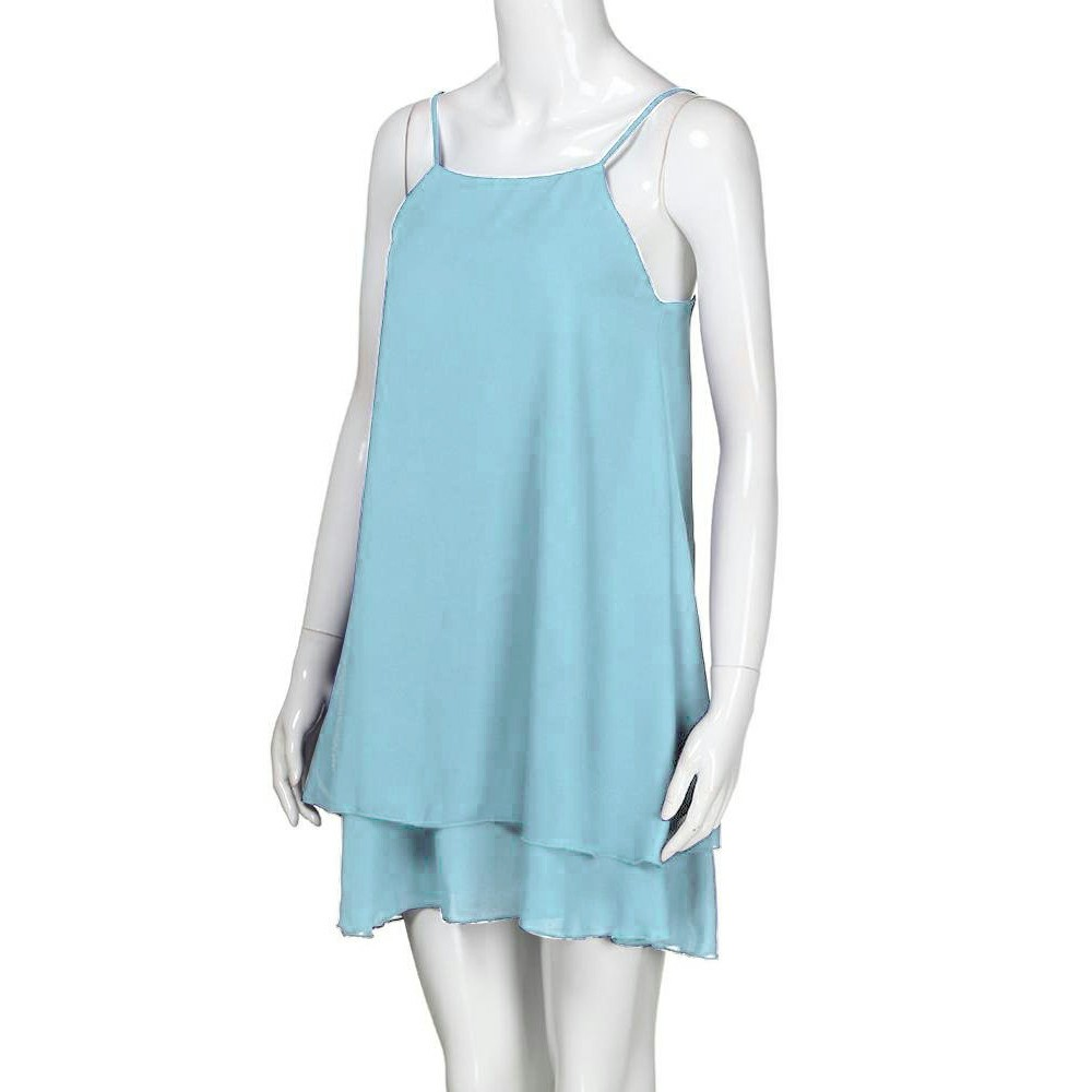 Women Holiday Chiffon Beach Wear Bikini Cover Up Light Blue S
