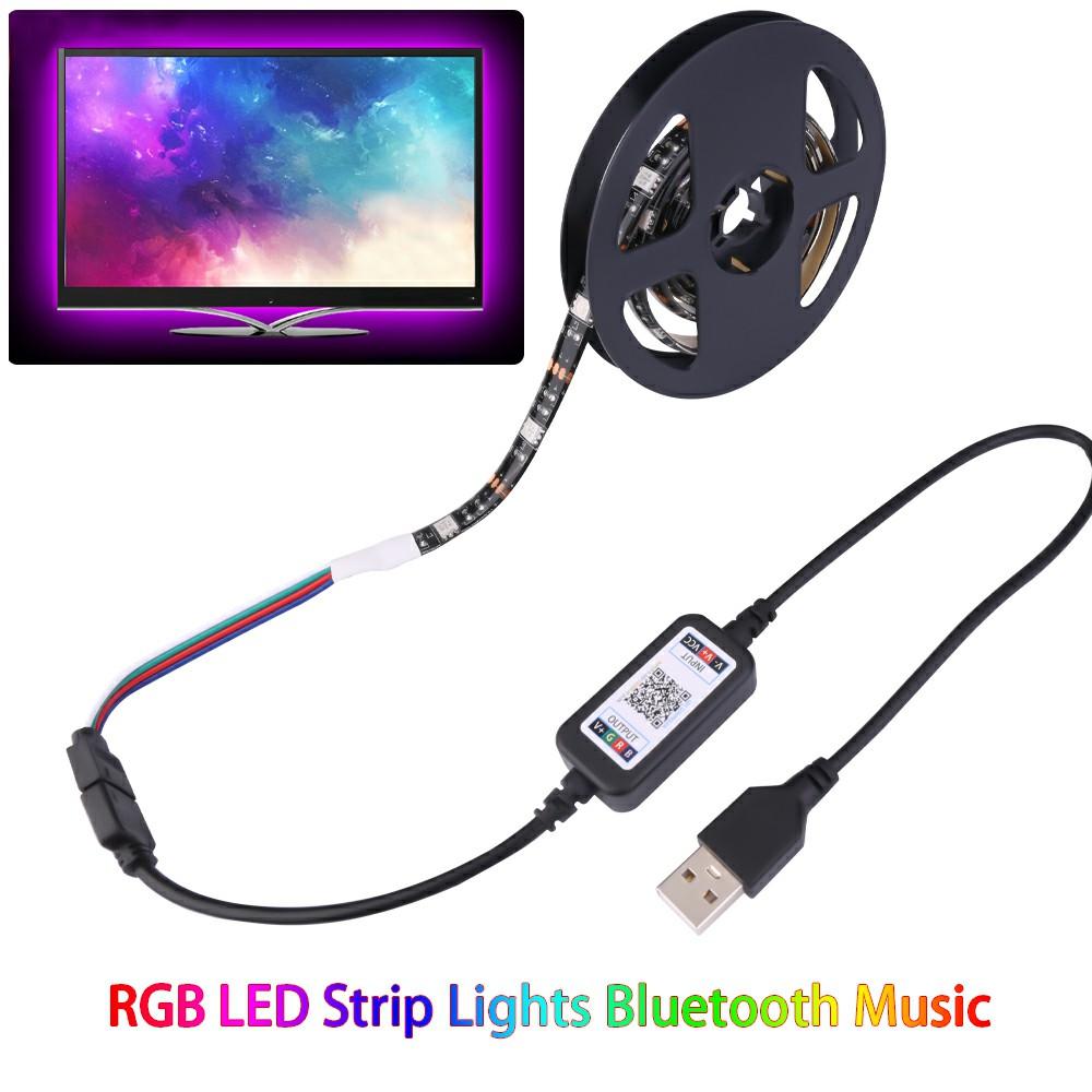 RGB LED Strip Lights Bluetooth Music USB Powered TV Back Lights - 1m