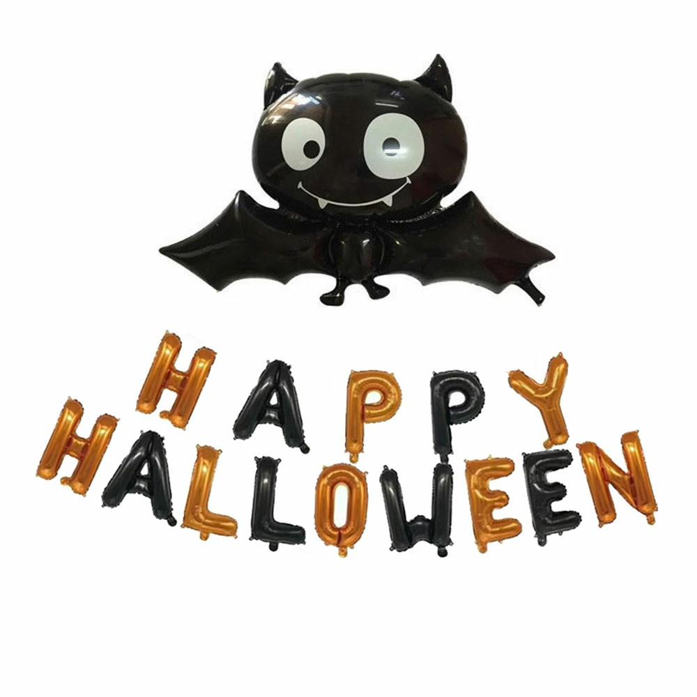 Halloween Decoration Bat Balloon Polka Dot Latex Balloons Letter Tassel Four-pointed Star
