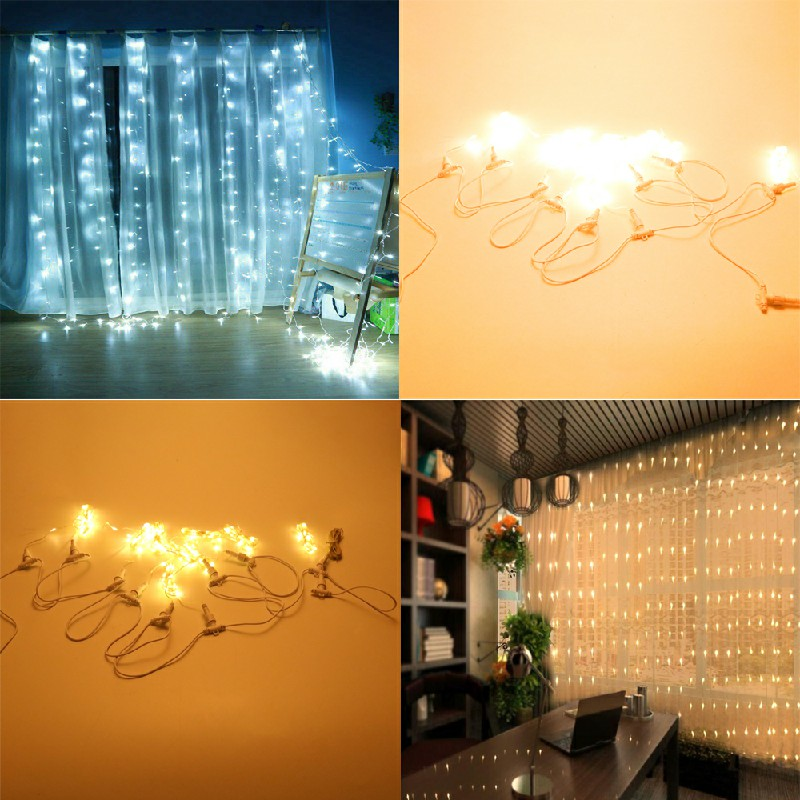 300 LEDs Curtain Fairy Lights String Hanging Wall Lights Wedding Party 8 Modes - Warm Light