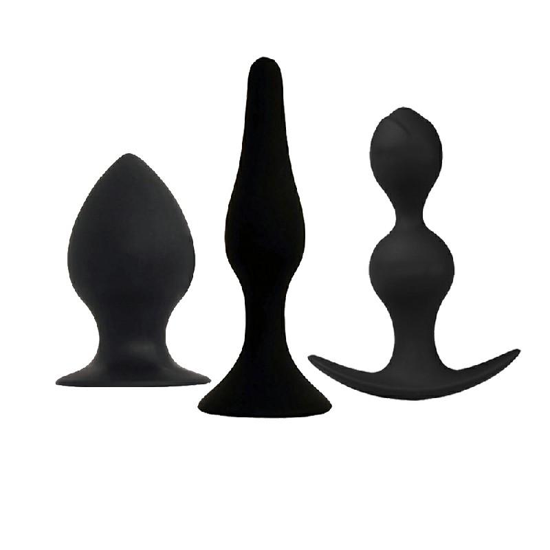 3pcs Anal Plug Silicone Bottom Men Women Adult Sex Toy Butt Plug Prostate Massager