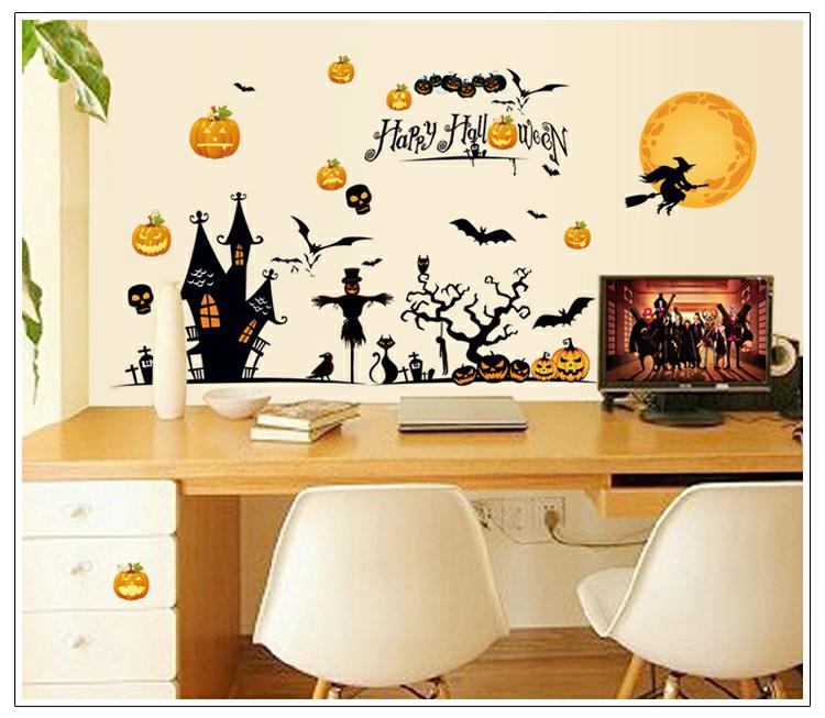 DIY Lovely Halloween Wall Sticker Art Decal Mural Glasses Wall Sticker - Bat