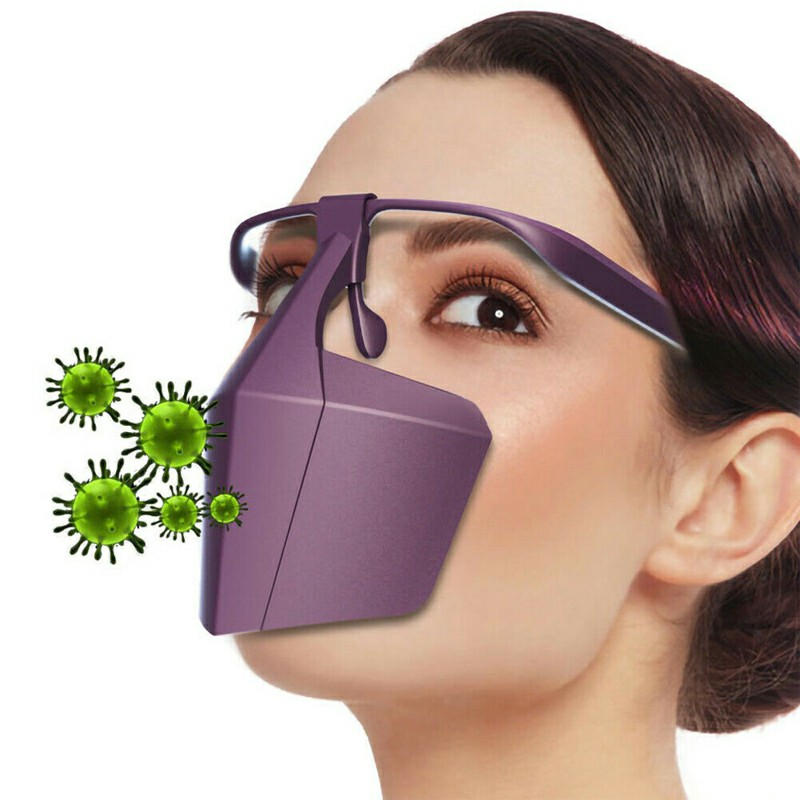 Protective Face Shield Filter Mask Anti-droplets Anti-splash Dust Reusable Isolation Mask - Purple