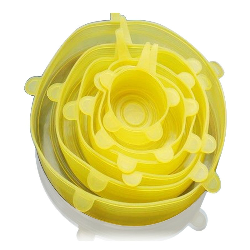 6Pcs Flexible Silicone Stretch Lids Reusable Food Keep Fresh Saver Cover for Bowls Cups Pots - Yellow