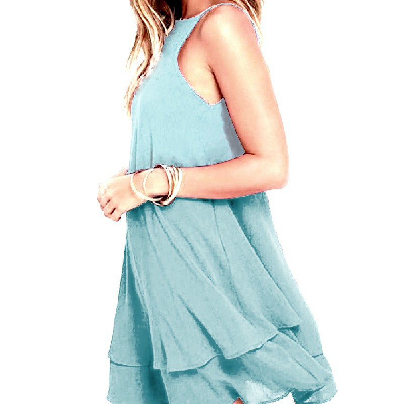 Women Holiday Chiffon Beach Wear Bikini Cover Up Light Blue - XL